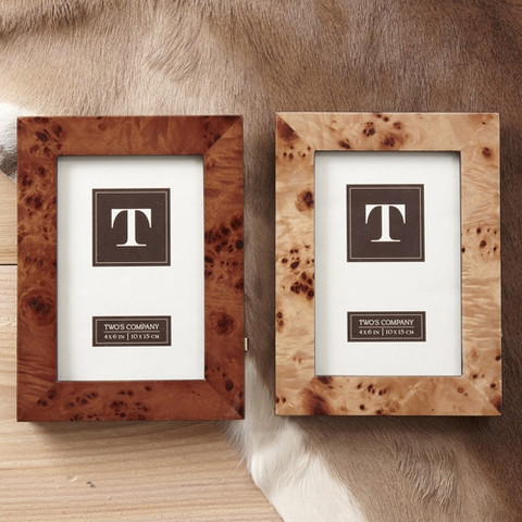 Two's Company - Burled Wood 5 x 7 Frame - Dark Brown