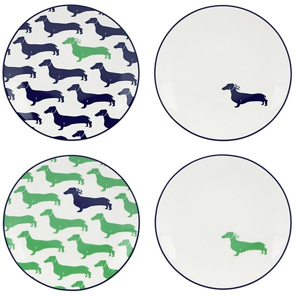 Kate Spade - Wickford Dachshund - Tidbit Plates - Set of 4